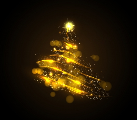 new year greetings: Abstract golden christmas tree on black background