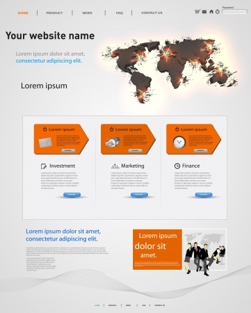 commercial sign: web design template, earth explosive elements Illustration