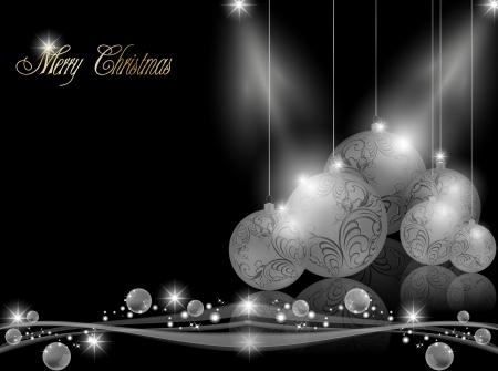 muerdago navide�  � �±o: Elegante fondo oscuro Navidad Vectores