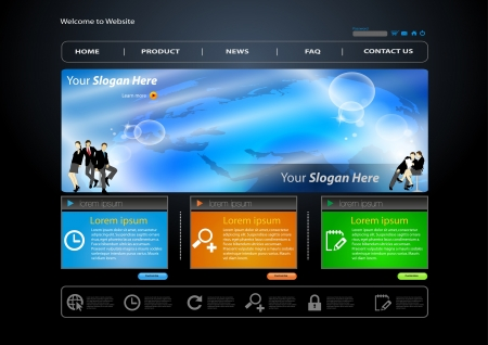 web site: business web site template with business human Illustration