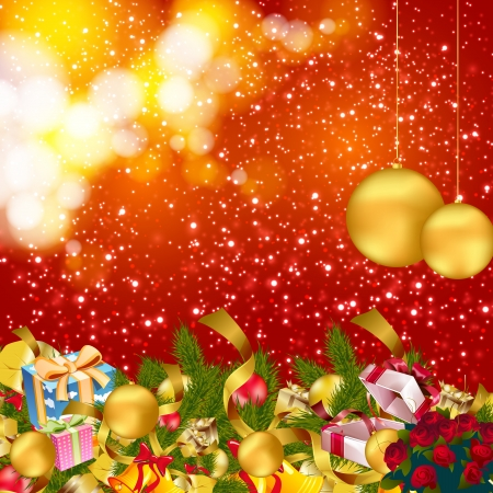 firtree: christmas background with baubles and christmas elements Illustration