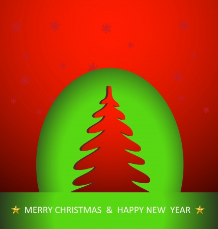 Christmas tree, easy color and text editable Vector