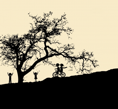 lonely bird: Vector silhouette with child