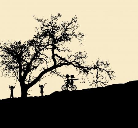 alone and sad: Vector silueta con el ni�o