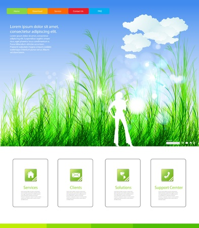 Web page nature layout design Vector