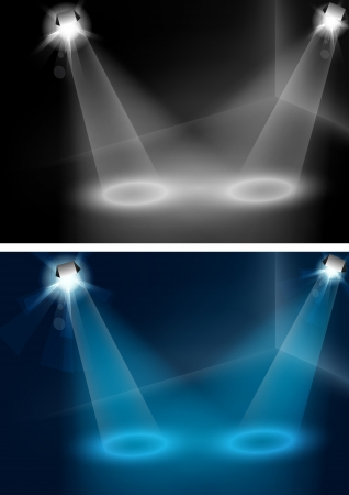 light beams: Blue and white spotlights vector, for your object