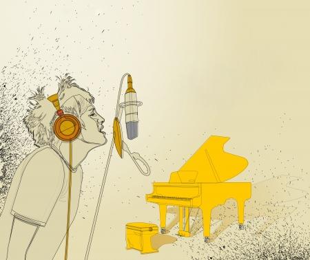 pianist: vintage retro music background