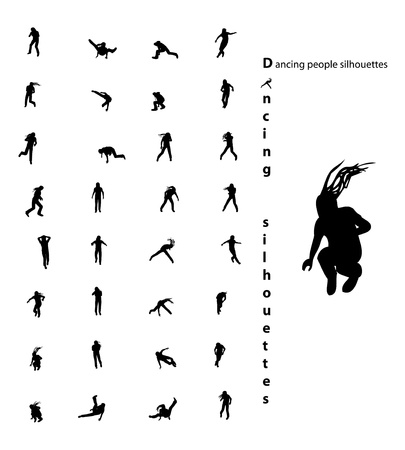 exaltation: Dancing people silhouettes vector illustration  Illustration