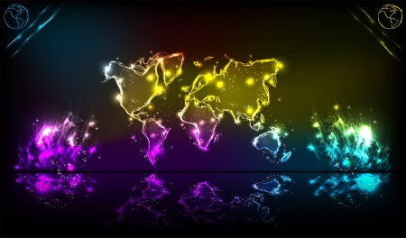 Earth neon light abstract background Stock Vector - 18531523