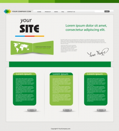 Website green template  Stock Vector - 18531515