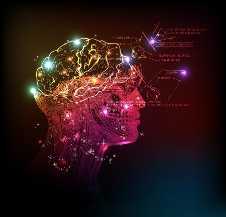 mente: dise�o de la luz de fondo del cerebro humano Vectores