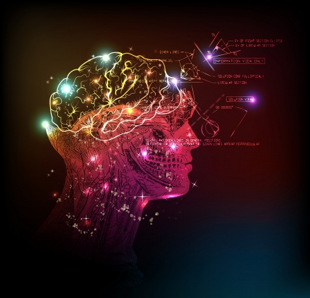human brain background light design Illustration