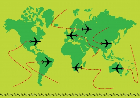 aviations: Vector airplane earth Illustration