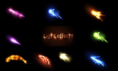 streak lightning: Light neon  Effects Set  Illustration