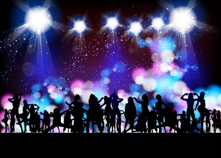 Party Vector, banner neon light stage background  Ilustrace