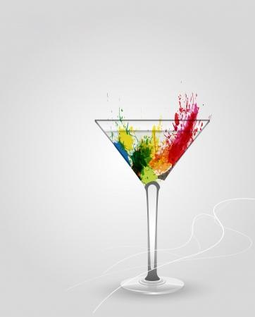 copa de martini: Vector de vidrio de Martini con multicolor abstracto salpicaduras