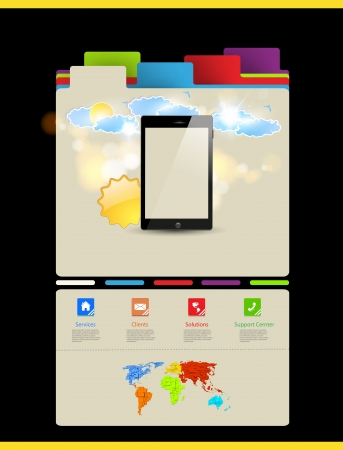 Website template, Touchscreen Mobile Vector