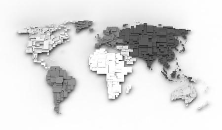 World map, cube concept Banco de Imagens