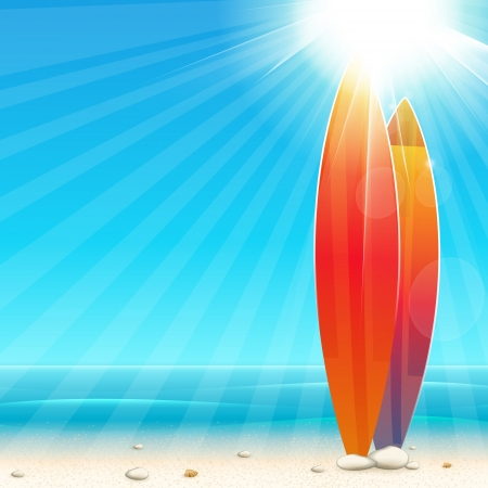 summer background: Holidays background with surfboard Illustration