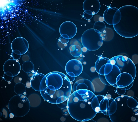 blue bubbles: Blue bubbles and light illustration background Illustration