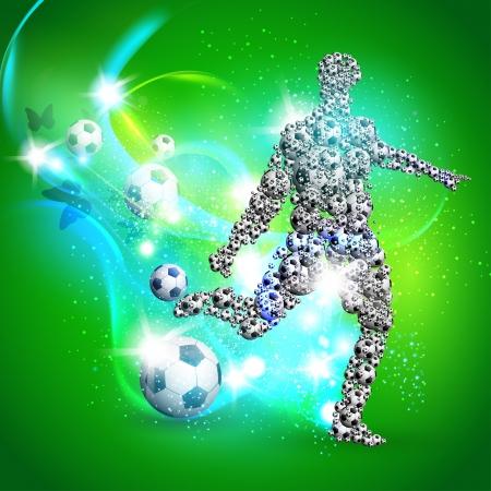 dribble: Soccer player kicks the ball, Vector illustration