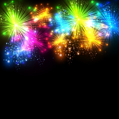 Happy New Year and christmas firework vector celebration background, easy all editable
