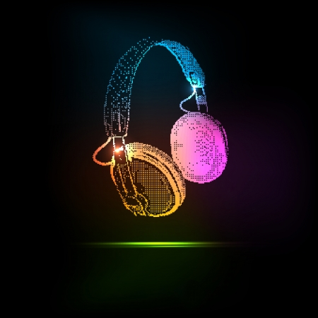 dj headphones: Vector Light Headphones, easy all editable Illustration
