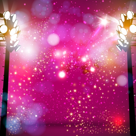 live entertainment: spotlight art background, easy editable Illustration