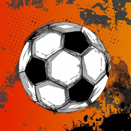 pelota de futbol: Balón de fútbol de Grunge del vector a todo color, fácil todo editable