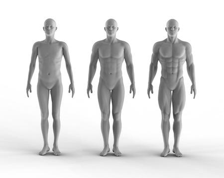 3d render set of portrait bodybuilder photo