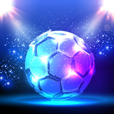 football fan: Soccer ball on blue spotlight