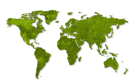 recycling plant: ecology world map, grass design Stock Photo