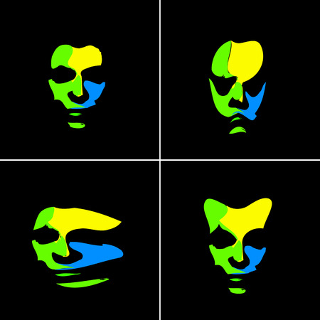abstract portrait: Brazil abstract portrait, easy all editable Illustration