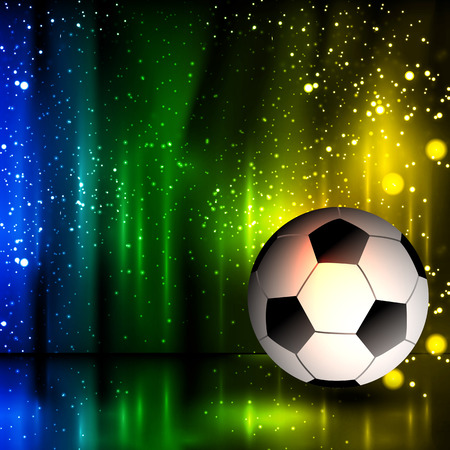 neon lights: Spotlight football glitters background with soccer ball, easy all editable