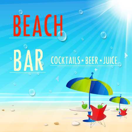 beach bar: Vintage Beach Juice Bar poster, easy all editable Illustration