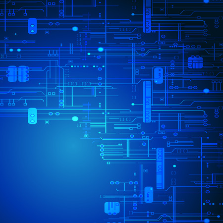 electronic circuit: Abstract blue technology background Illustration