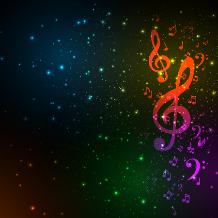 Colorful music background, easy editable Vector