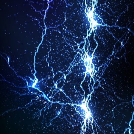 electrocute: electrical sparks on a dark blue background