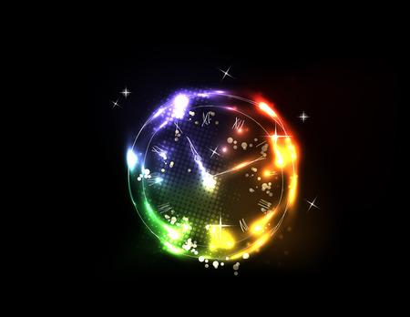 glade: light neon clock background  Illustration