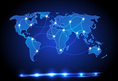 carte du monde: Conception lumi�re du monde carte Illustration