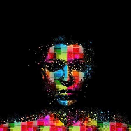 Woman face, grunge design, easy all editable Illustration