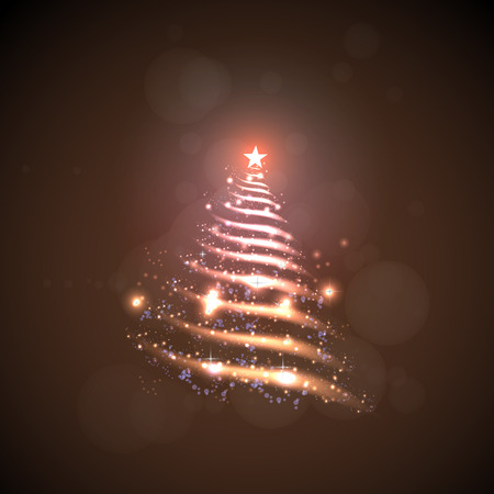 Abstract Christmas tree made of sparkles and lights, EPS10 vector greeting card Vector