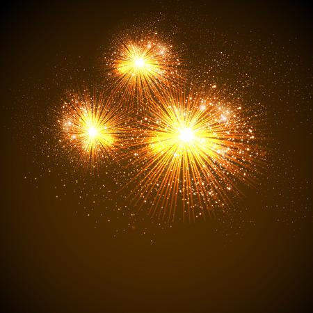 Vector Illustration of Fireworks, easy editable Vector