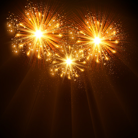 Happy New Year 2014 fireworks celebration background, easy all editable Vector