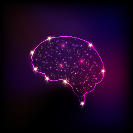 Abstract light human brain, easy editable