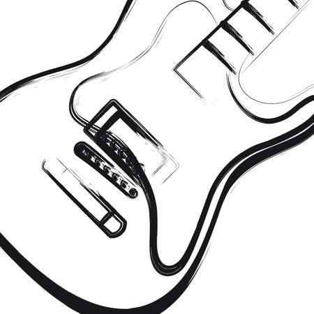 Elektrische gitaar hand getekend, kunt u gemakkelijk alle bewerkbare