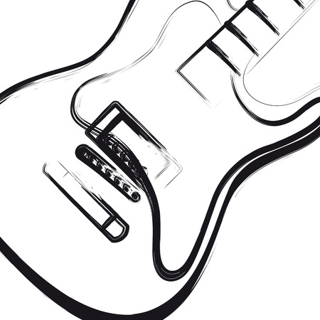 Electric Guitar hand drawn, you can easy all editable Illustration