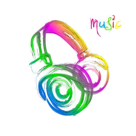 Grunge color light Headphones, easy all editable Vector