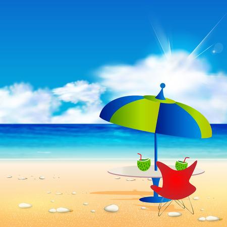 Relaxing scene on summer beach, easy all editable