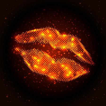 抽象的なキラキラ唇の図は、編集可能な簡単な色のベクターします。